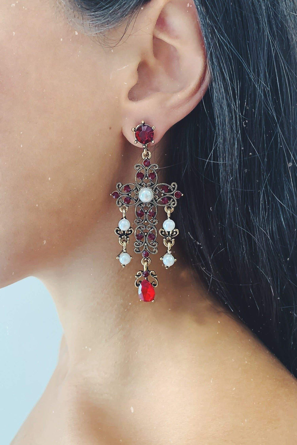Glazori Isidora Copper Drop Earrings with Red Crystals