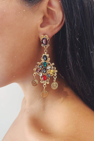 Glazori Nyla Gold Drop Earrings with Multicoloured Crystals