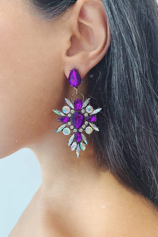 Glazori Makayla Purple Crystal Statement Earrings