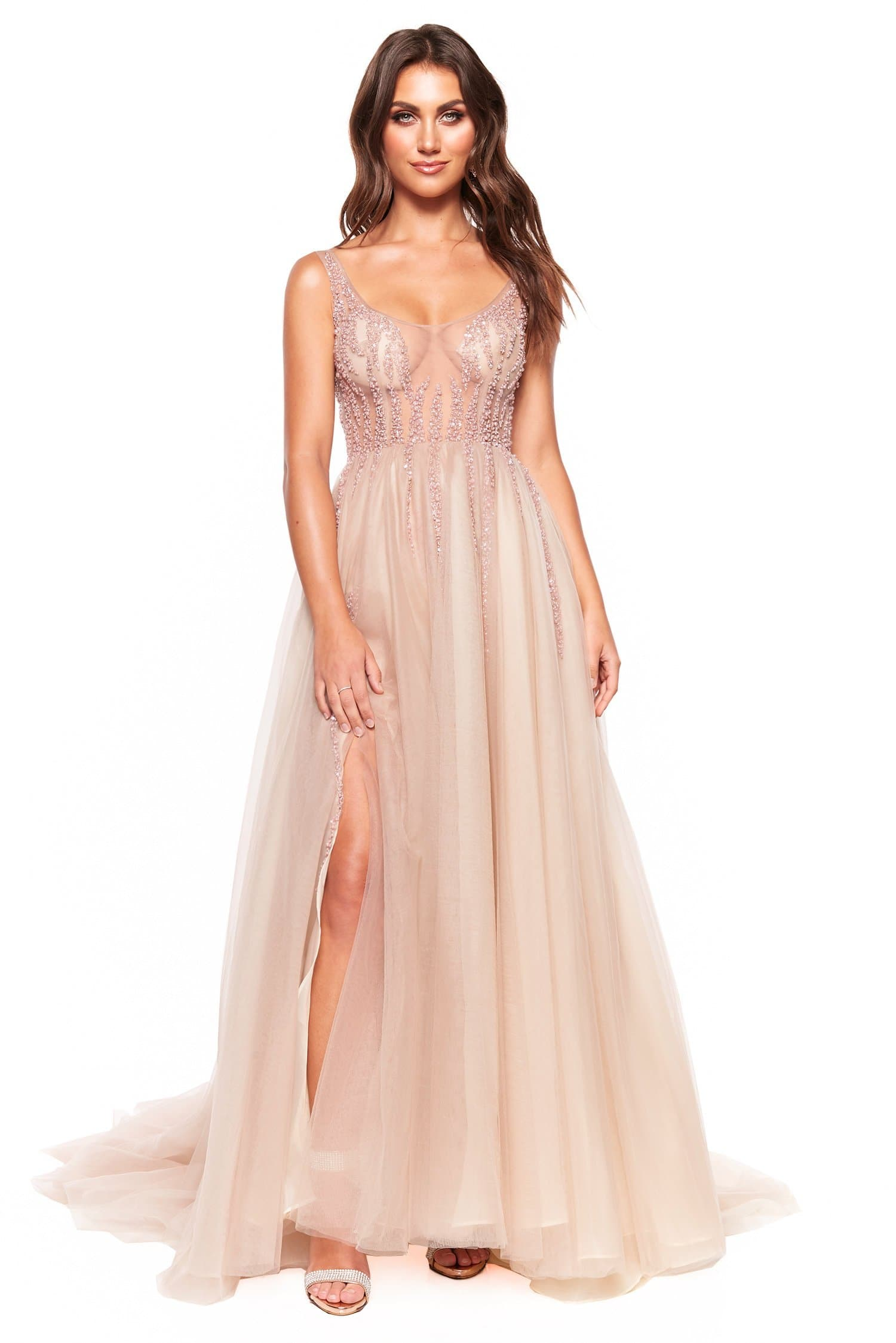A&N Luxe Rosie - Nude & Pink Tulle Gown with Sheer Beaded Bodice