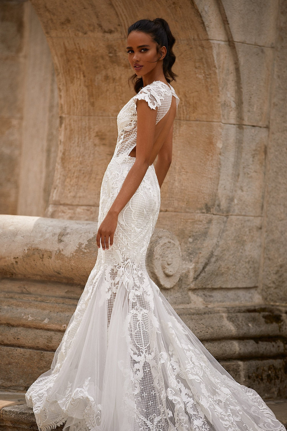 A&N Rachelle - White High Neck Lace Boho Bridal Gown With Mermaid Train