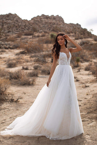 A&N Paisley - White Beaded Boho Bridal Tulle Gown with Open Back