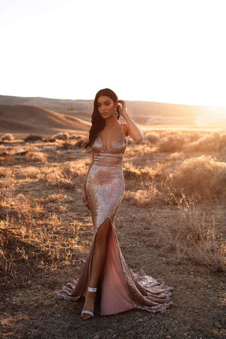 A&N Luxe Yoven - Rose Gold Sequin Gown with Lace-Up Back & Side Slit