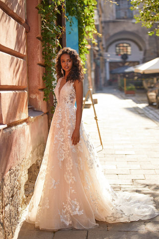 A&N Claudine - Embellished Tulle Boho Bridal Gown with Plunge Neck