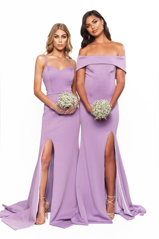 A&N Bridesmaids - Elizabeth Lilac Ponti Gown with Sweetheart Neckline