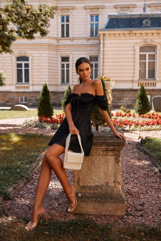 Yelena - Black Lace Dress with Tie-Up Bustier & Off-Shoulder Sleeves