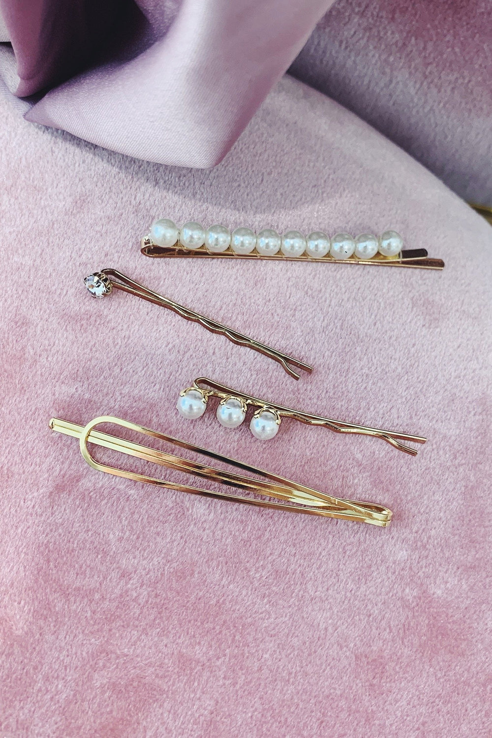 Assorted Gold Clips with Mini Pearls and Diamantes