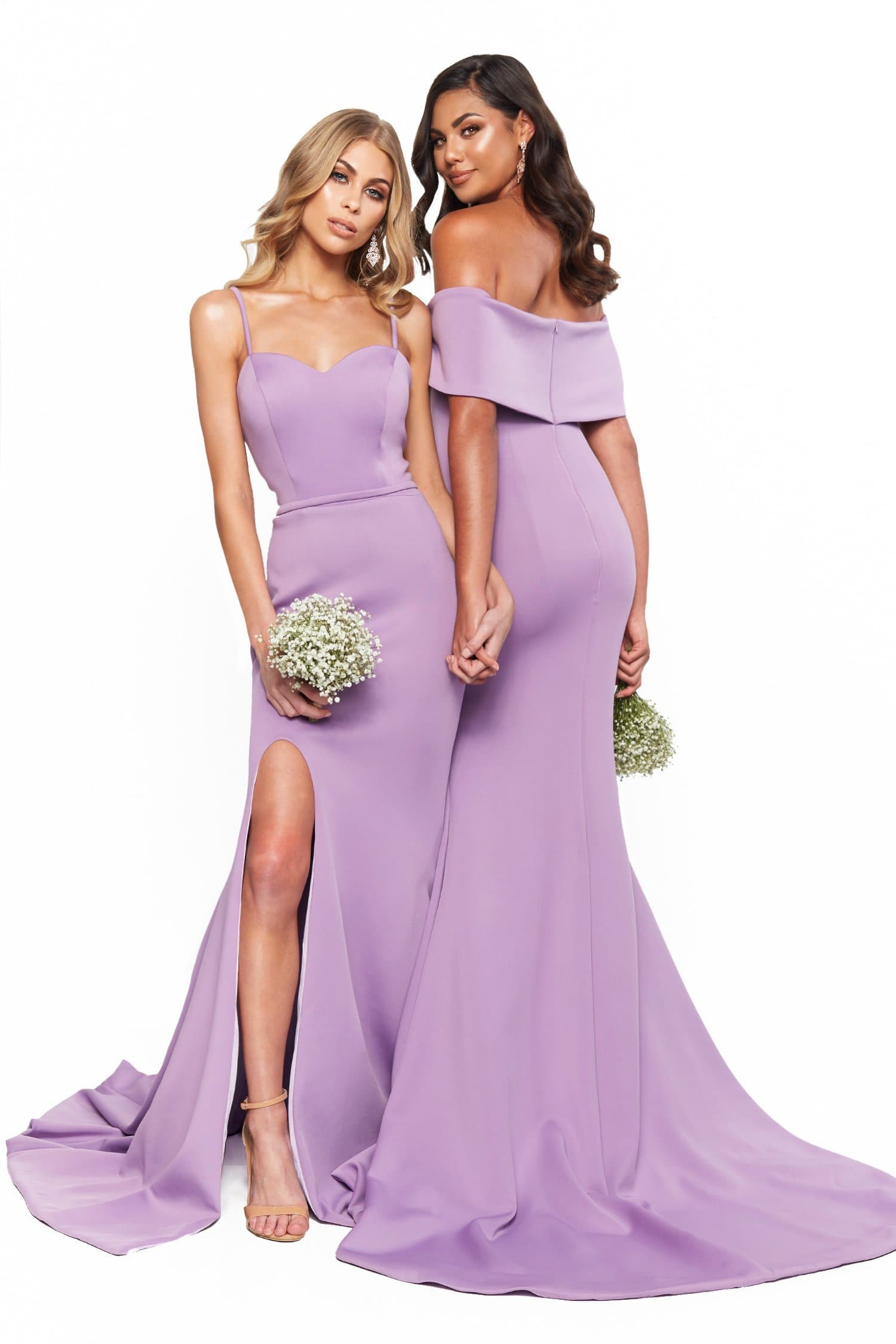 A&N Bridesmaids Cleo Off-Shoulder Ponti Gown With Slit - Lilac