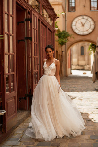 A&N Carys - White & Nude Textured Tulle Boho Bridal Gown With Pearls