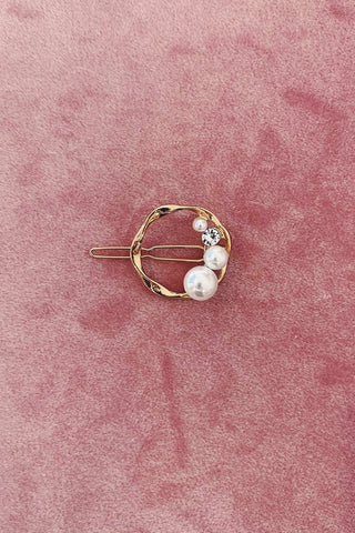 Gold Circle Clip with Pearl & Crystal Detailing