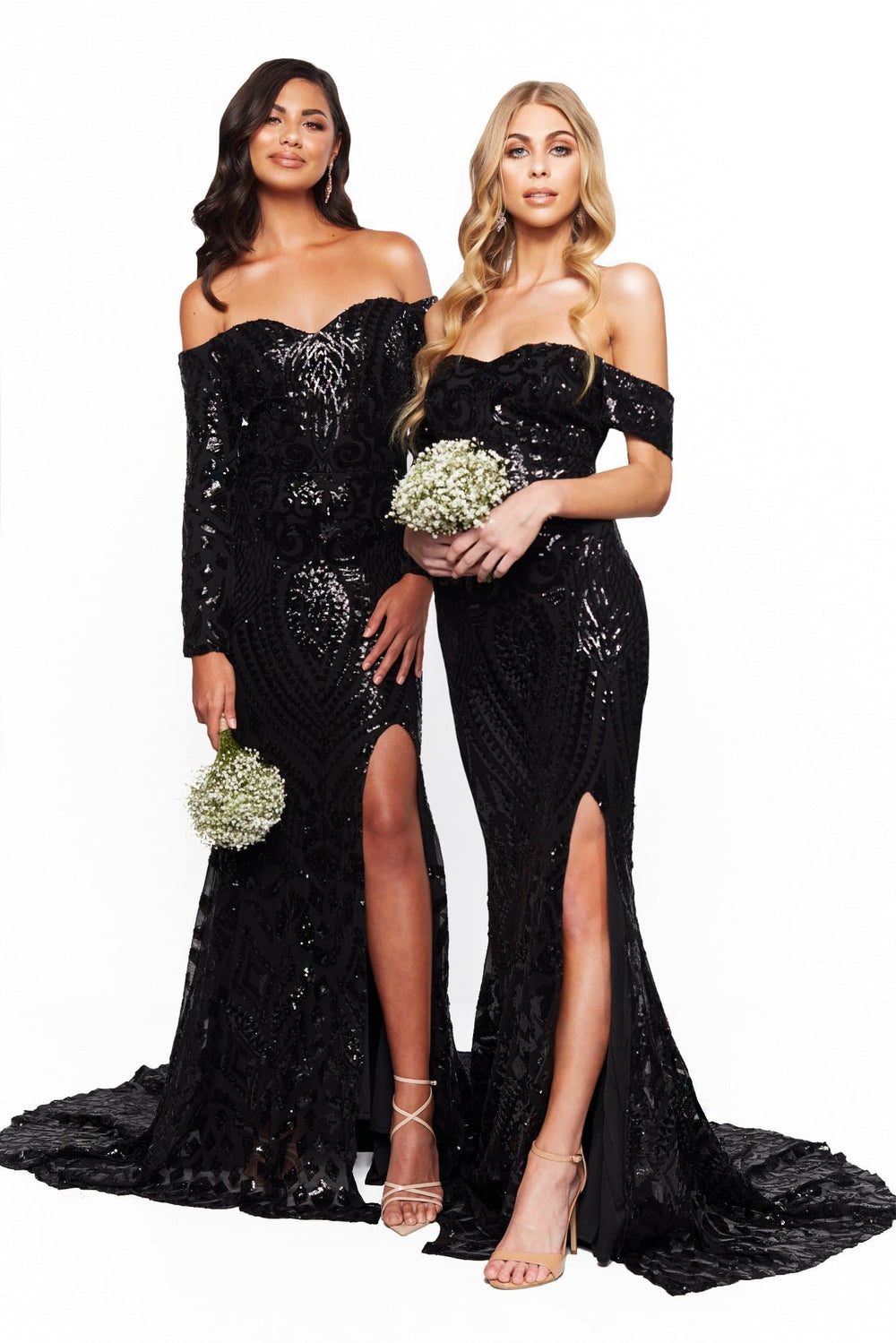 A&N Bridesmaids Kora Sequin Off-Shoulder Gown With Slit - Black