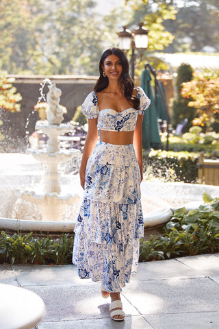 Seralina Set - White & Blue Floral Print Two Piece with Maxi Skirt