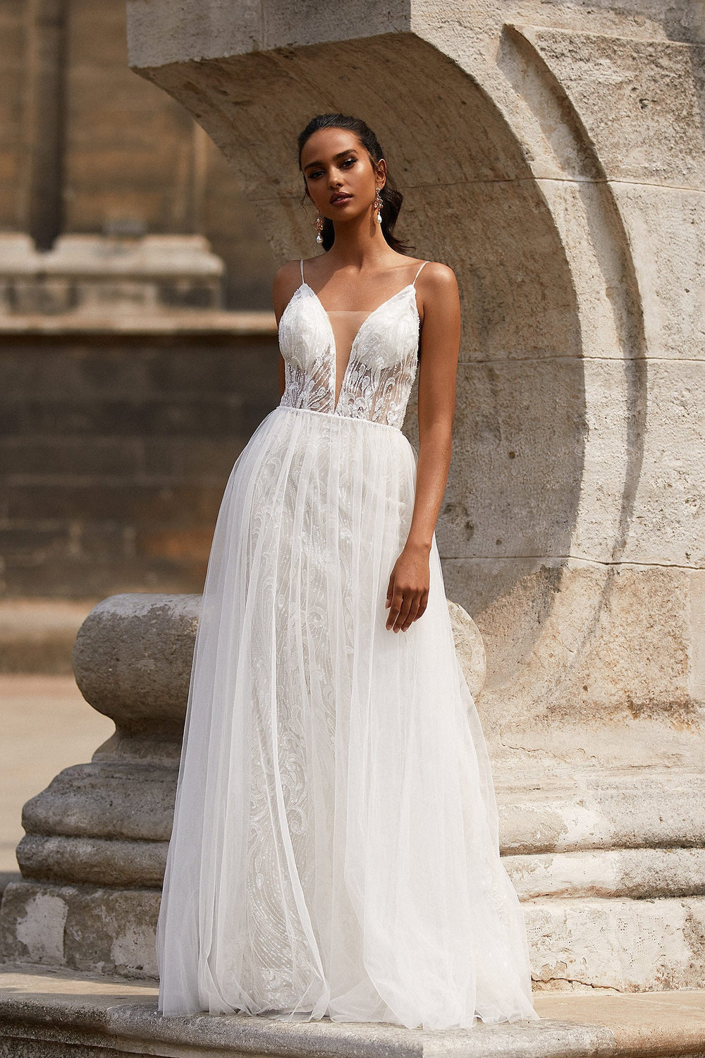 A&N Ciana - White Boho Bridal Lightweight A-line Beaded Tulle Gown
