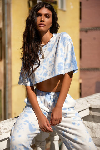Hailey T-Shirt - Sky Blue & White Tie Dye Cropped Tee