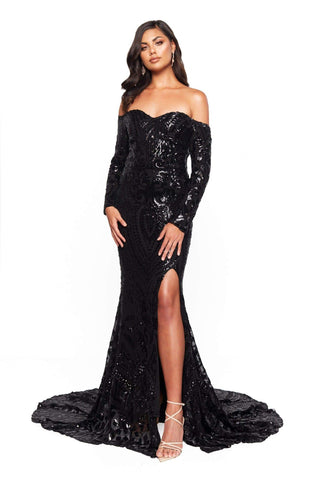 A&N Bridesmaids Amara Sequin Long Sleeve Off-Shoulder Gown - Black