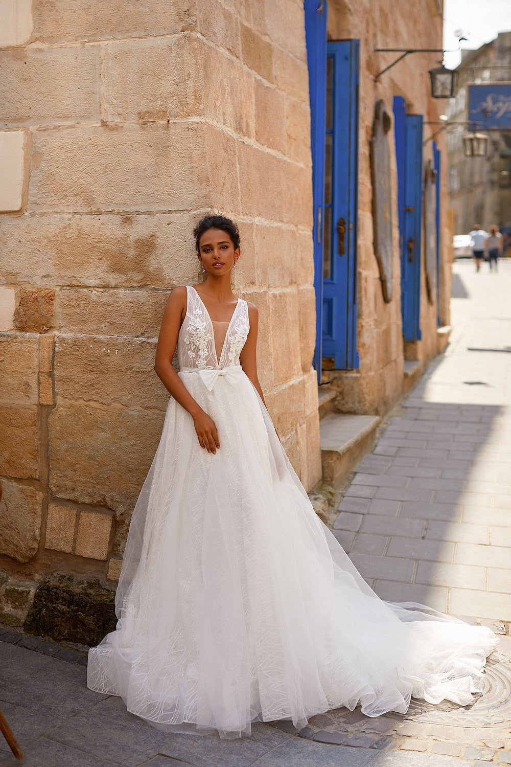 A&N Martha - White Tulle Boho Bridal Gown with Plunge Neck