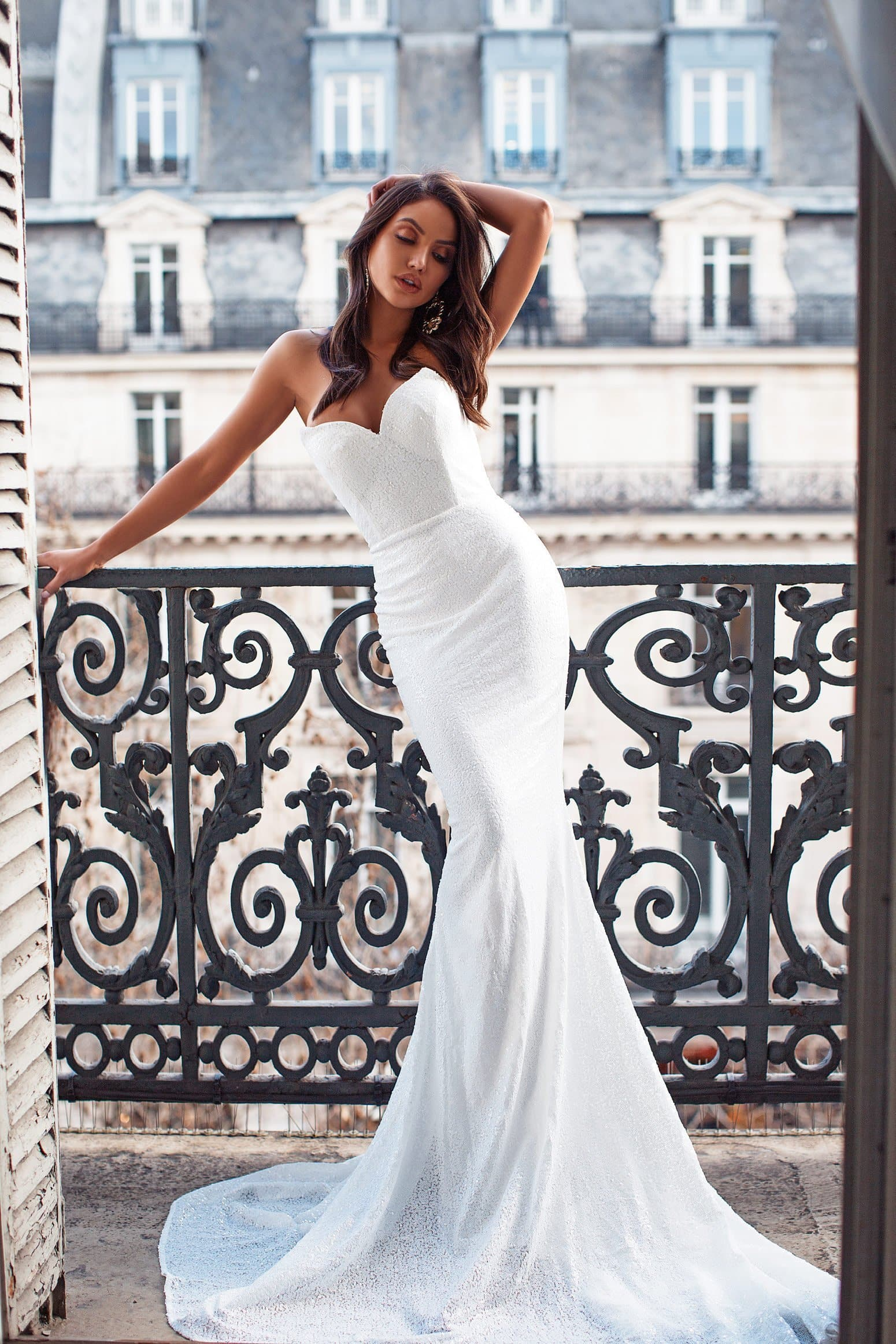 Acel - White Sequin Gown with Mermaid Train & Strapless Neckline