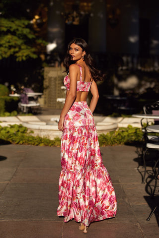 Liviana Set - Pink Floral Two Piece with Crop Bustier & A-Line Skirt