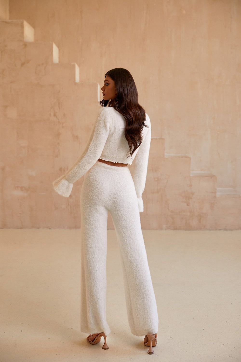 Kelly Pants - White High Waist Fluffy Flared Leg Lounge Pants