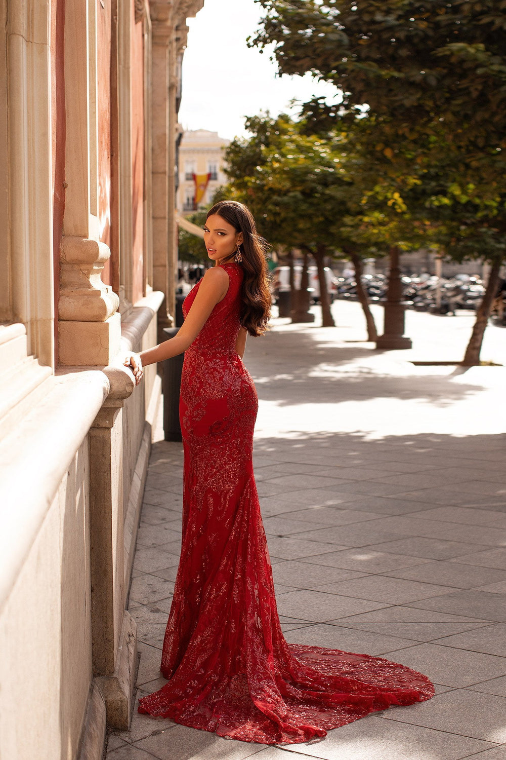 Coletea - Deep Red Patterned Sequin Mermaid Gown with Plunge Neck