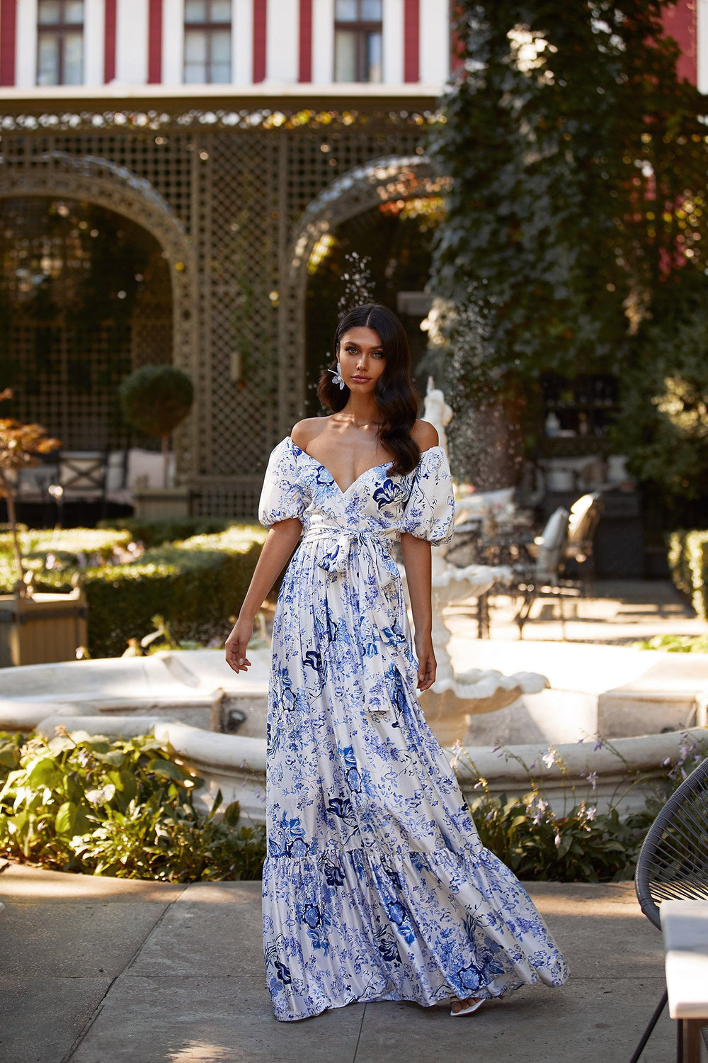 Dara Dress - White & Blue Floral Maxi Dress with Off-Shoulder Sleeves