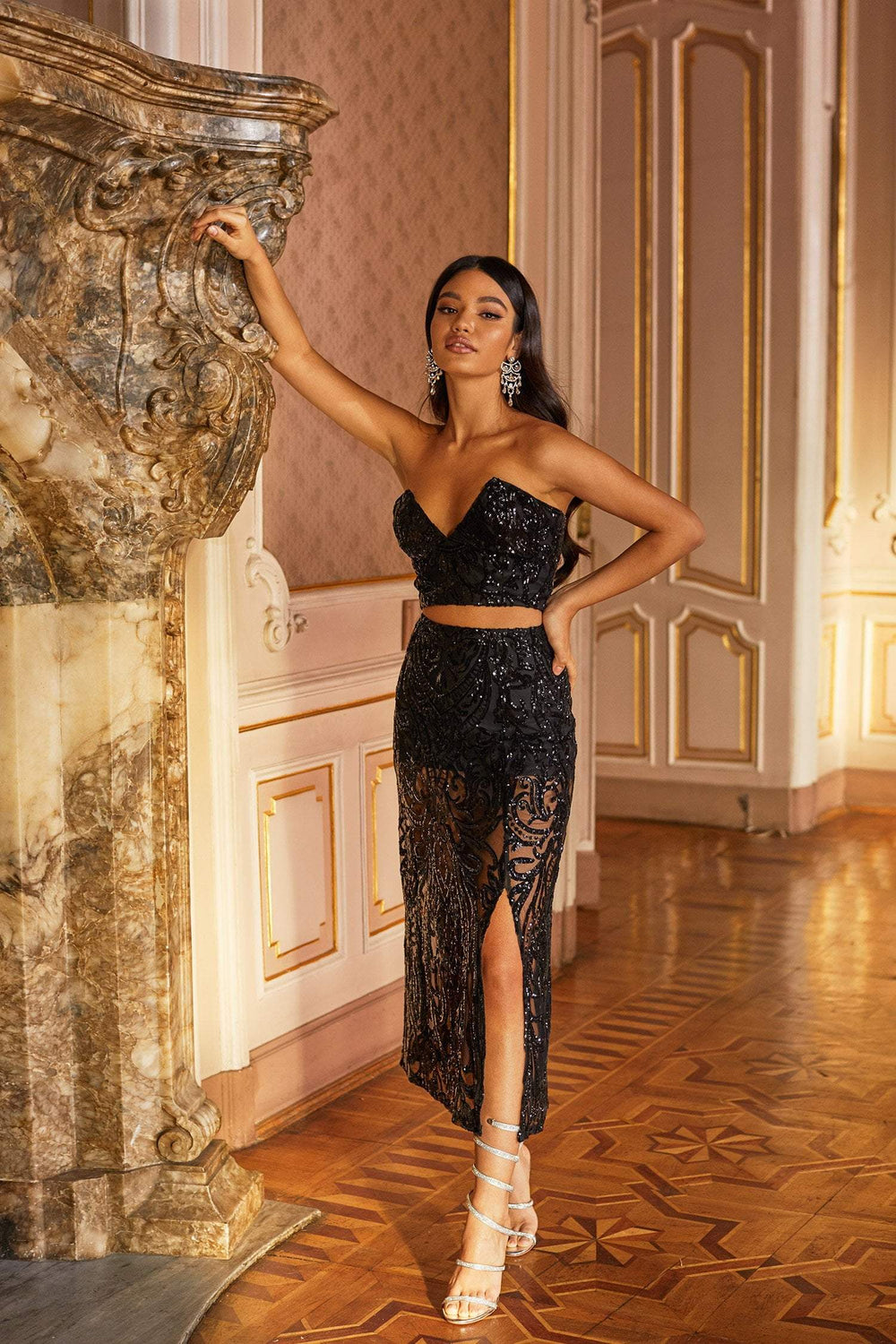 Mauris - Black Sequin Two Piece Set with Strapless Crop & Midi Skirt