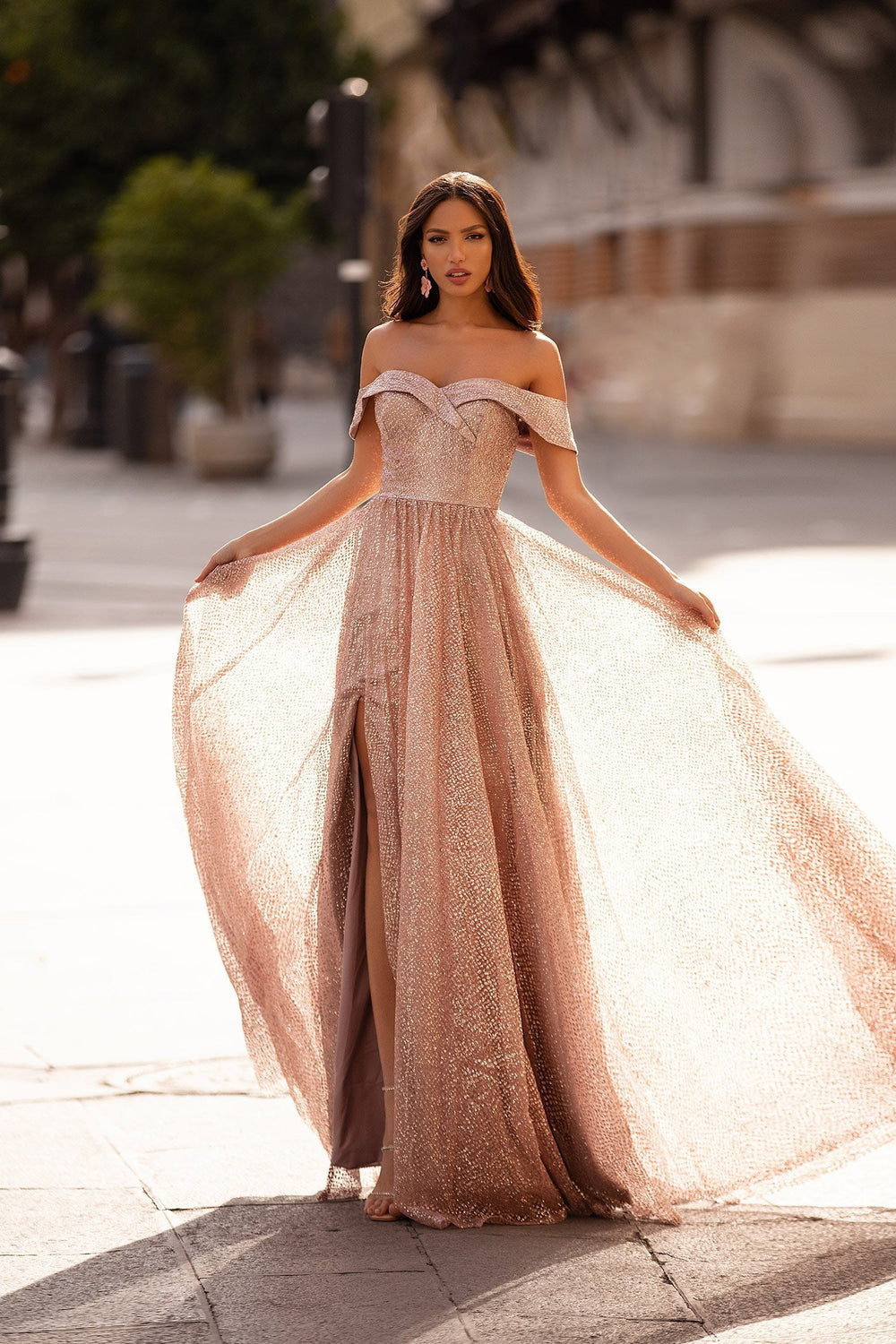 Candela - Rose Gold Off-Shoulder Glitter A-Line Gown with Side Slit