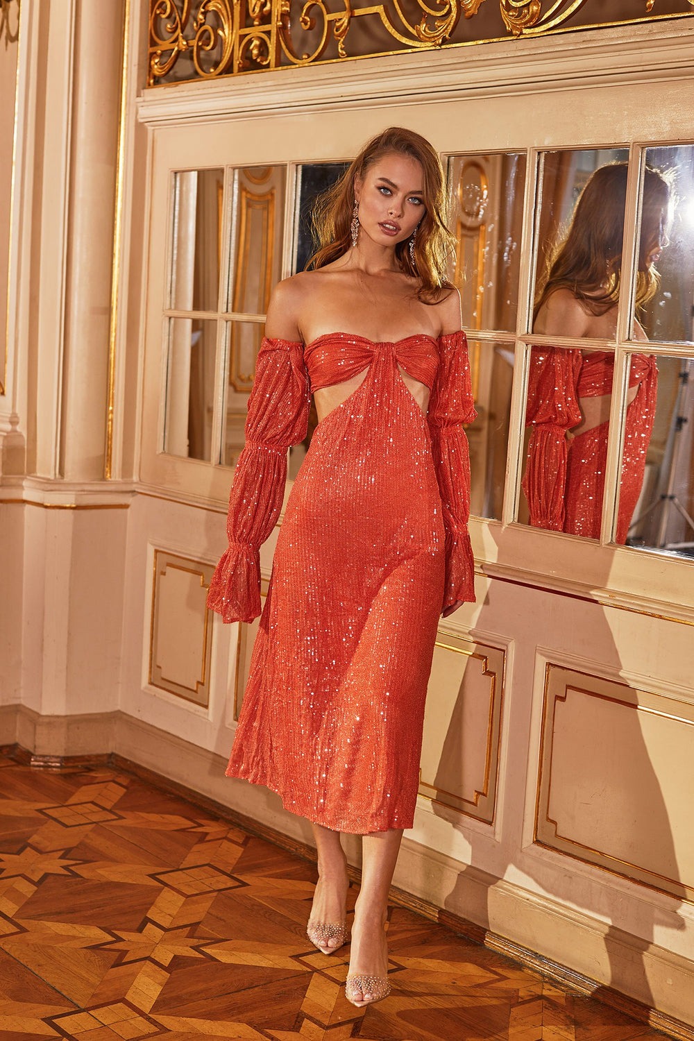 Dilara - Orange Sequin Midi Dress with Long Sleeves & Cut Out Waist