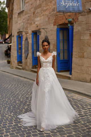 A&N Chrysie - White Boho Bridal Gown with Pearls & Short Sleeves
