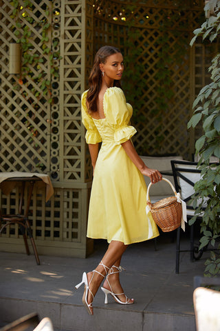 Liona Dress - Yellow A-Line Midi Dress with Puffy Sleeves & Bustier