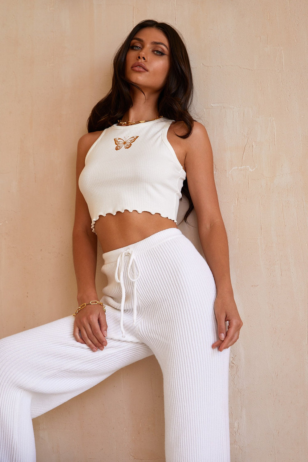 Alexa Pants - High Waisted White Flared Lounge Pants