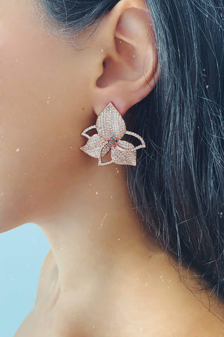Glazori Ximena Rose Gold Flower Stud Earrings with Coloured Jewels