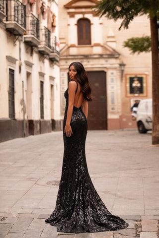 Savy - Black Sequin Backless Gown with Plunge Neck & Mermaid Train