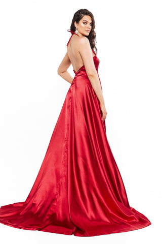 A&N Curve Amani Satin Plunge Neck Low Back Gown with Slit - Deep Red