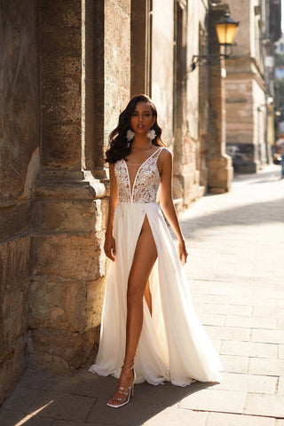 A&N Sami - White Boho Bridal Gown with Beaded Bodice & High Slit
