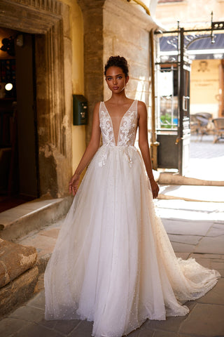 A&N Roxane - White Embellished Boho Bridal Gown with Pearls