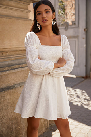 Luba - White Lace A-Line Mini Dress with Long Puffy Sleeves