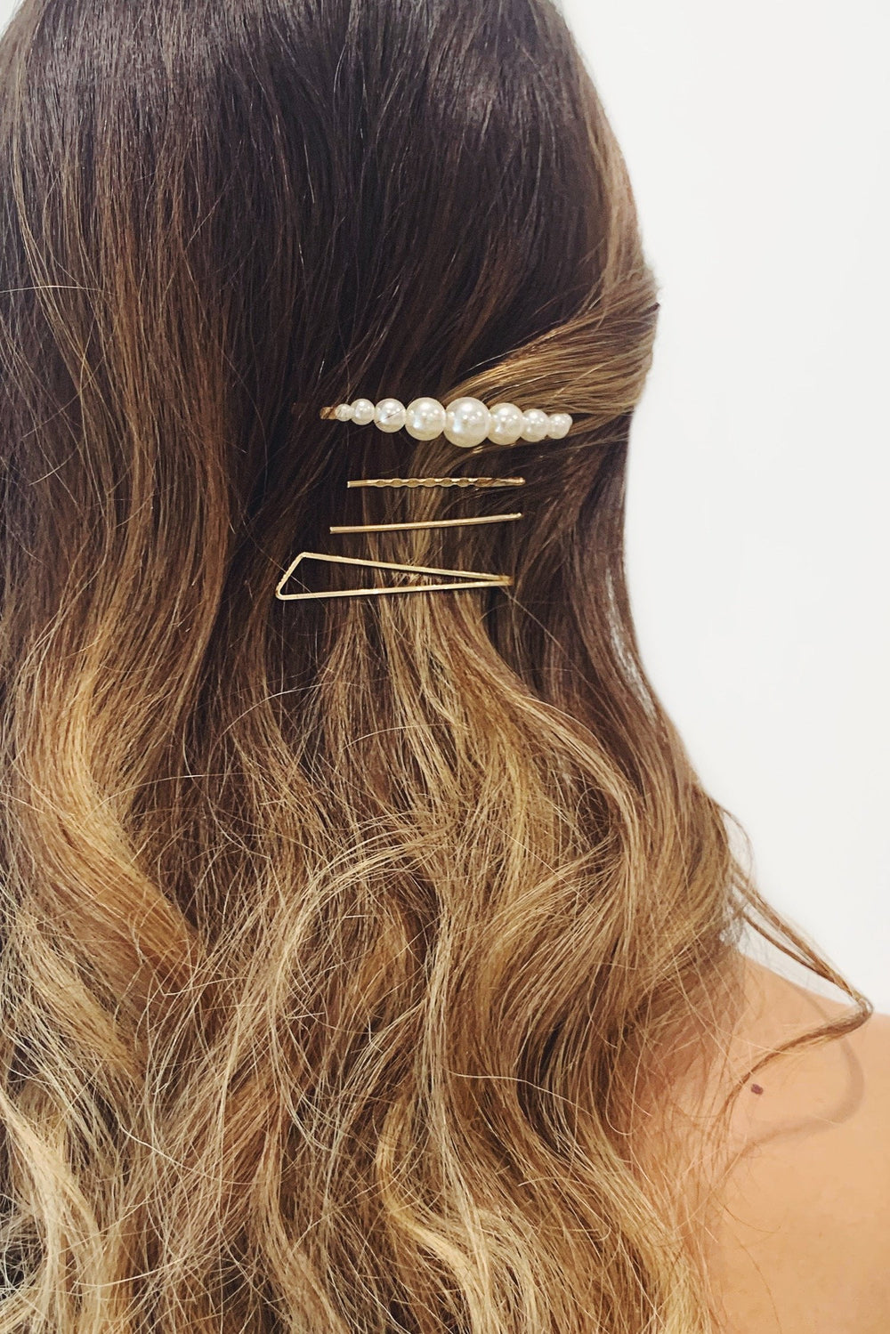 Assorted Gold Clips with Large Pearls and Geometric