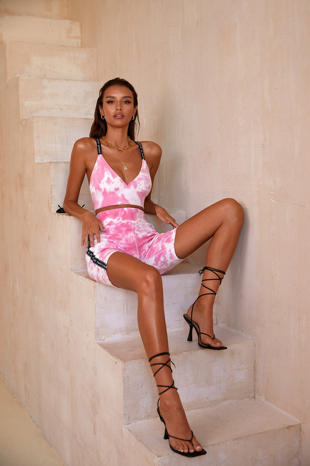 Izabel Set - Pink & White Tie Dye Ribbed Set with Branding