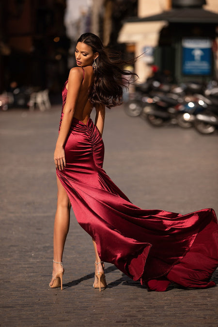 Antonia Jersey Gown - Wine Red