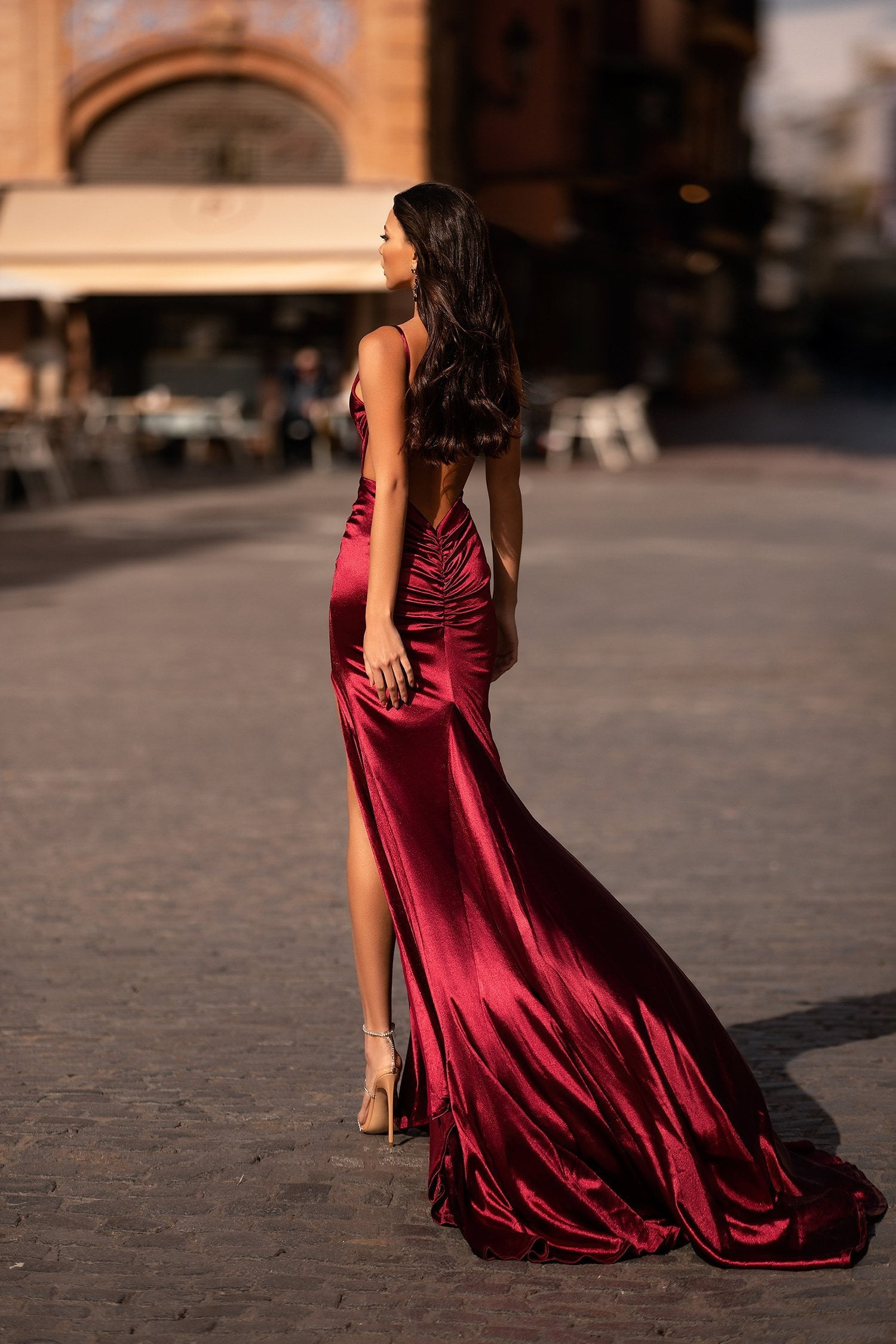 Estela - Burgundy Satin Gown with Cowl Neck, Low Back, Slit & Ruching