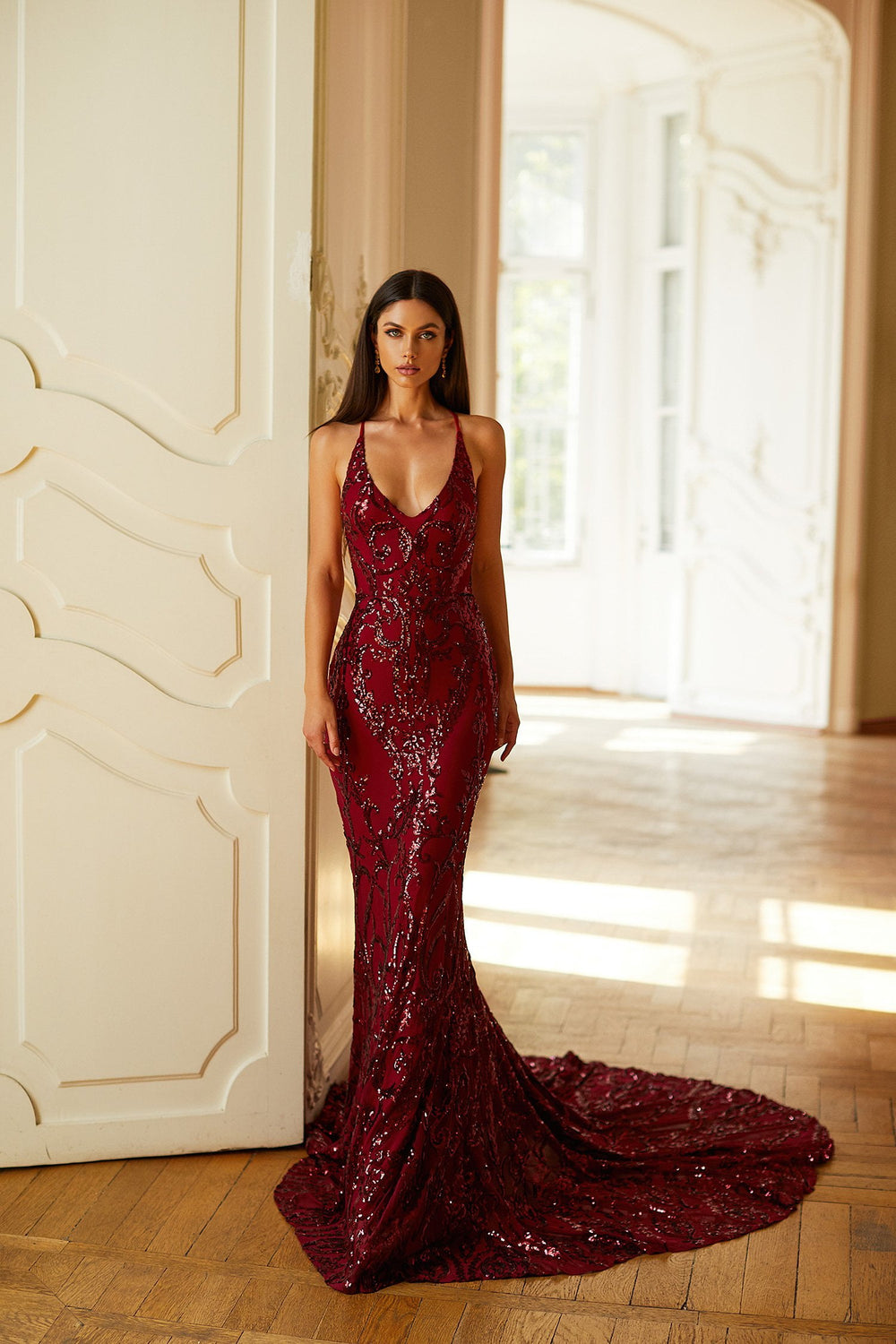 Ramona - Burgundy Sequin Mermaid Gown with Scoop Neck & Lace-Up Back