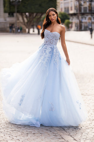Estafania - Baby Blue Beaded Tulle Gown with A-Line Skirt & Side Slit