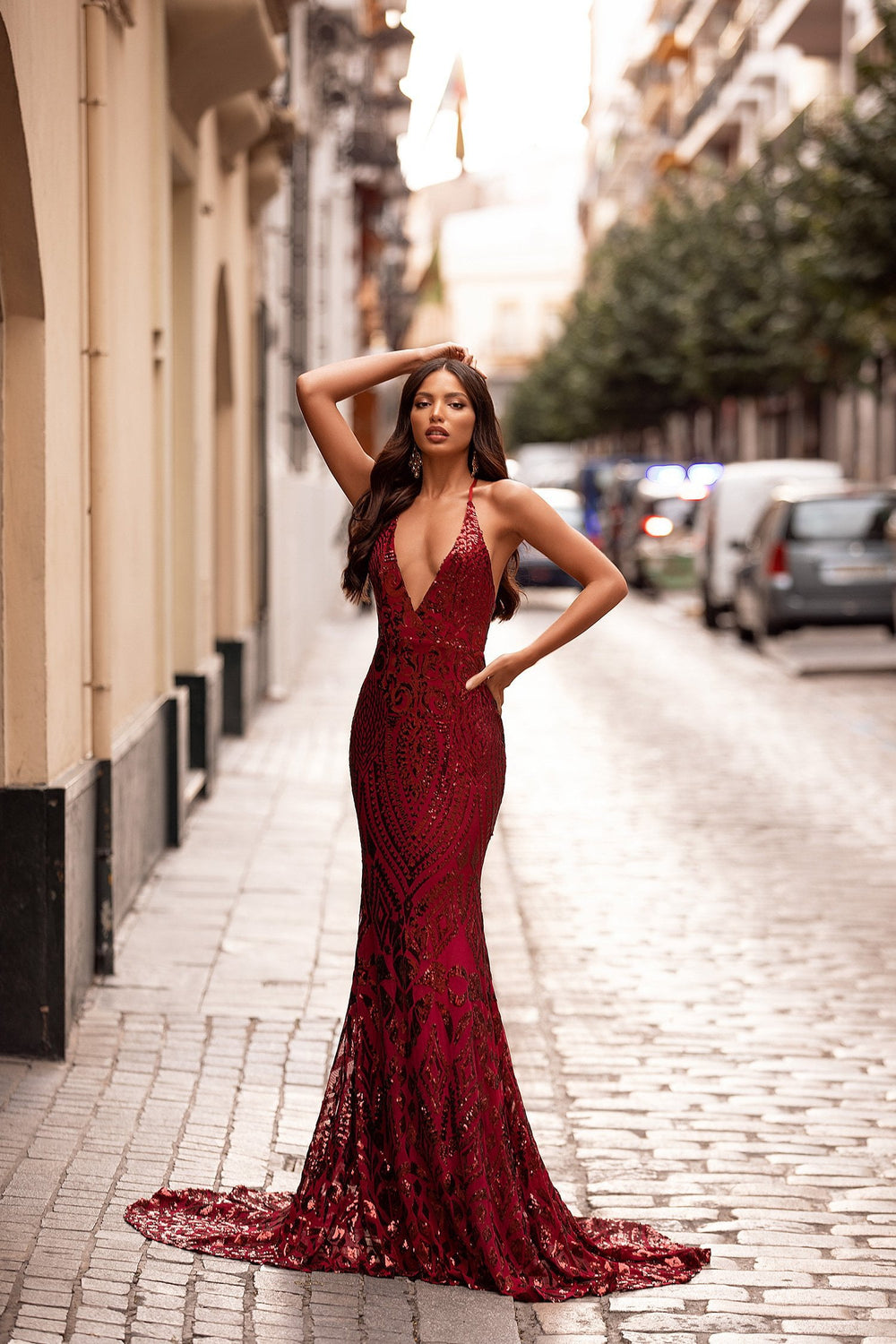 A&N Luxe Kalila - Burgundy Sequin Mermaid Gown with Criss-Cross Back