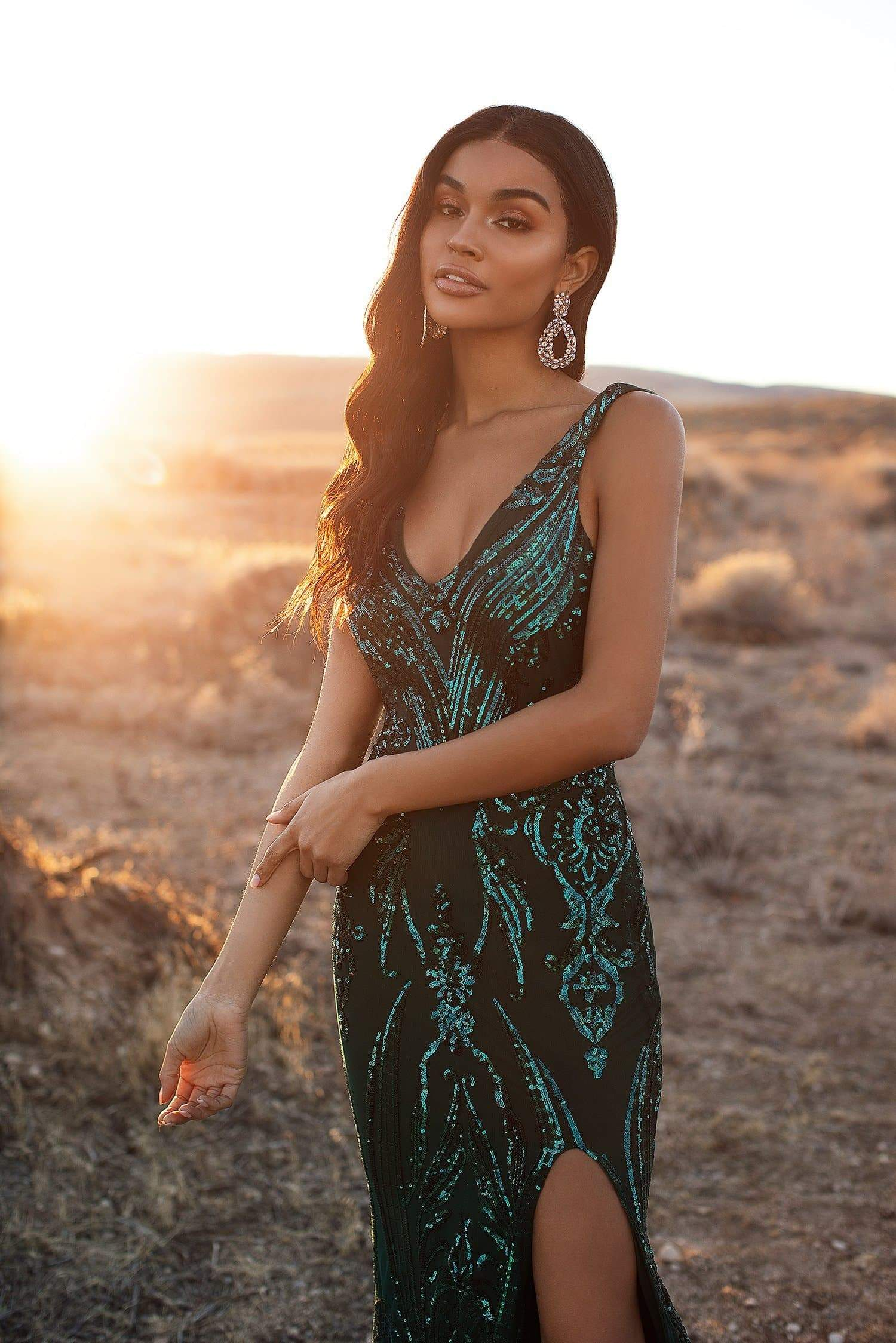 A&N Luxe Danica  - Emerald Sequin Mermaid Gown with Side Slit
