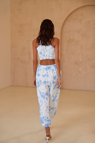Cara Joggers - Sky Blue Tie Dye High Waist Joggers with Elastic Ankles