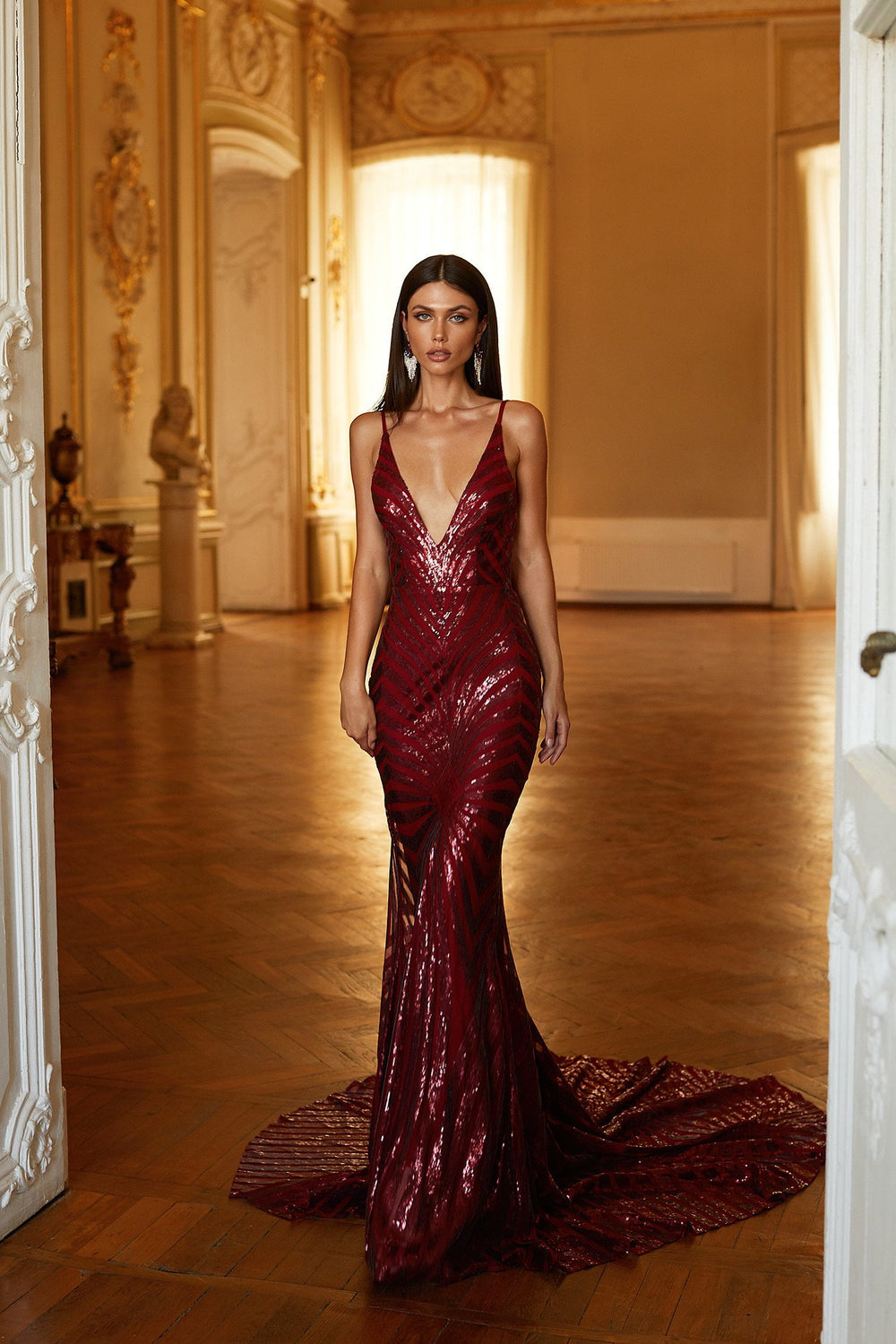 Justina - Burgundy Sequin Gown with Plunge Neck, Low Back & Train