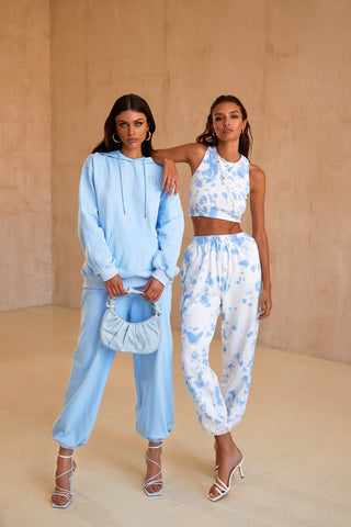 Kylie Oversized Joggers - Light Blue High Waisted Joggers with Pockets