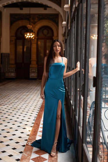Mabelle Satin Gown - Navy