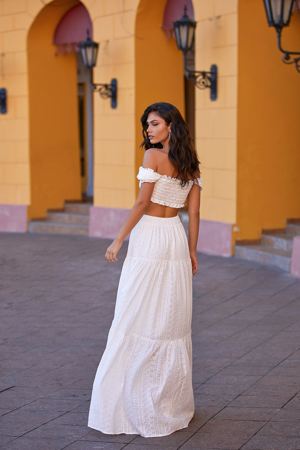 Alanis Set - White Lace Two Piece with Crop & High Waist Maxi Skirt